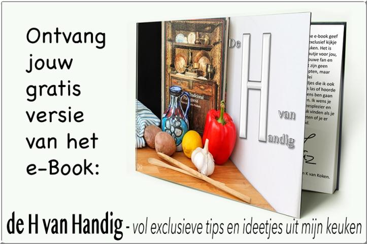 Ontvang jouw gratis versie van het e-book 'de H van Handig', vol exclusieve tips en ideetjes uit mijn keuken.